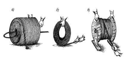 Рис. 19. Распускание бухты троса: а - растительного; б и в - стального